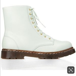 Mint green lace up boots